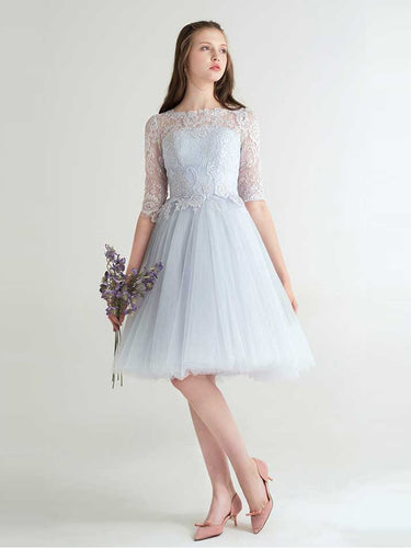 Beautiful Homecoming Dress Bateau Half Sleeve Lace Short Prom Dress Party Dress JK433
