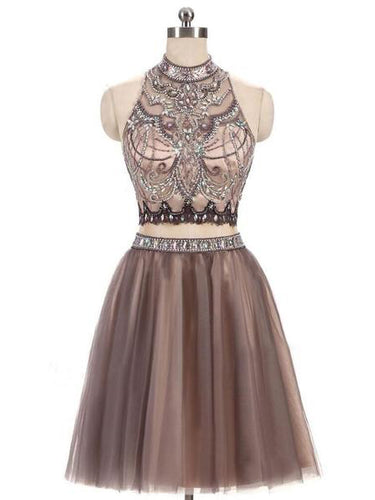 Chic Homecoming Dress High Neck Rhinestone Tulle Short Prom Dress Party Dress JK456