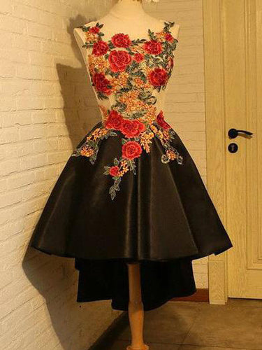 High Low Homecoming Dress Scoop A-line Appliques Short Prom Dress Black Party Dress JK504