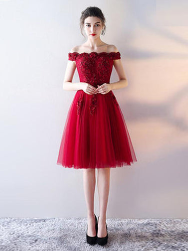 Burgundy Homecoming Dress Off-the-shoulder A-line Lace Short Prom Dress Party Dress JK507