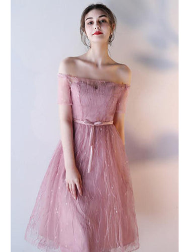 Chic Homecoming Dress Scoop A-line Tulle Knee-length Short Prom Dress Sexy Party Dress JK508