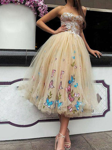 Sexy Homecoming Dress A-line Sweetheart Appliques Butterfly Short Prom Dress Party Dress JK528