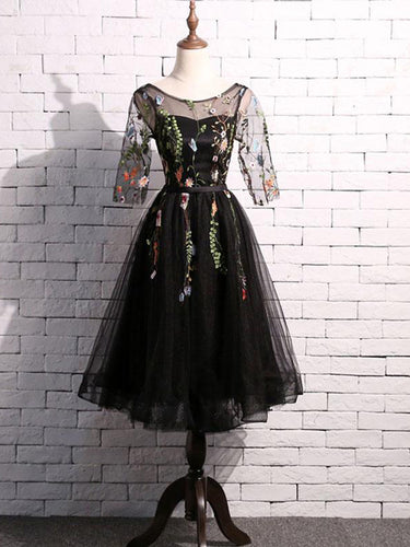 Lace Homecoming Dress Scoop A-line Embroidery Short Black Prom Dress Party Dress JK560|Annapromdress