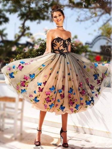 Black Homecoming Dress Sweetheart Butterfly A-line Beautiful Short Prom Dress Party Dress JK567|Annapromdress