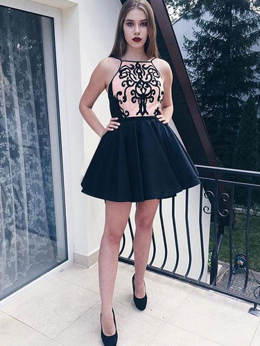 Black Homecoming Dresses Lace Aline Short Prom Dress Mini Party Dress JK577|Annapromdress