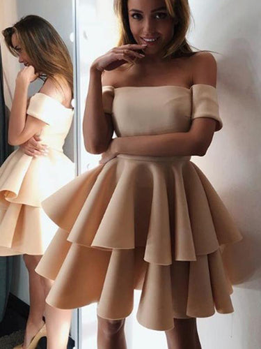 Cheap Homecoming Dresses A-line Off-the-shoulder Short Prom Dress Party Dress JK700|Annapromdress