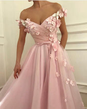 Beautiful Prom Dresses Pink A-line Hand-Made Flower Long Fairy Prom Dress JKL1145|Annapromdress
