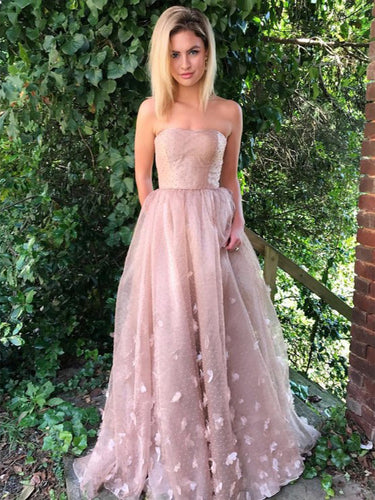 Beautiful Prom Dresses Strapless A-line Hand-Made Flower Long Chic Lace Prom Dress JKL1285|Annapromdress