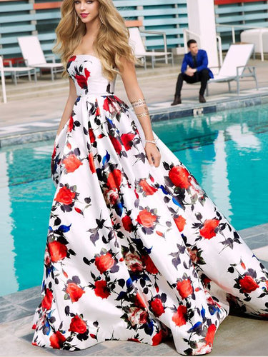 Floral Print Prom Dresses Strapless Aline Sweep Train Long White Prom Dress JKL1291|Annapromdress