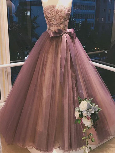 Ball Gown Prom Dresses Strapless Embroidery Bowknot Sexy Beautiful Prom Dress JKL1523|Annapromdress