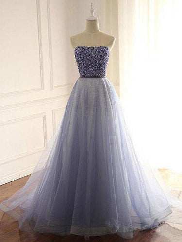 Beautiful Prom Dresses Strapless A Line Lavender Prom Dress Beaded Evening Dress JKL1660|Annapromdress