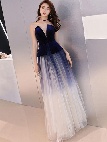 Cheap Prom Dresses Strapless A-line Royal Blue Velvet Long Ombre Prom Dress JKL1669|Annapromdress