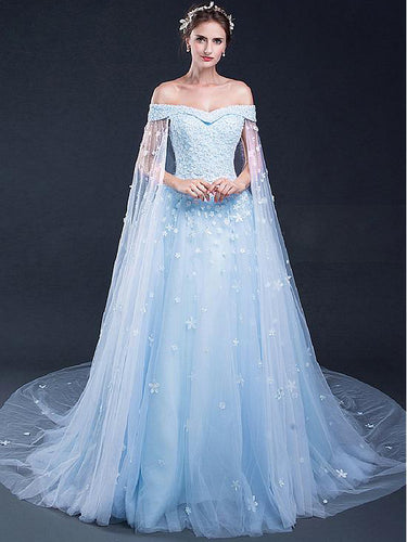 Light Sky Blue Prom Dresses Off-the-shoulder Sweep/Brush Train Tulle Prom Dress/Evening Dress JKL166
