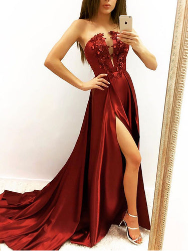 Burgundy Prom Dresses Aline Long Strapless Sexy Prom Dress Slit Evening Dress JKL1708|Annapromdress
