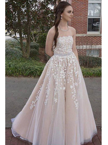 Chic Prom Dresses A-line Strapless Appliques Long Sexy Prom Dress/Evening Dress JKL246