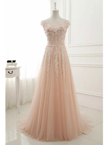Chic Prom Dresses Scoop A-line Floor-length Tulle Prom Dress/Evening Dress JKL294