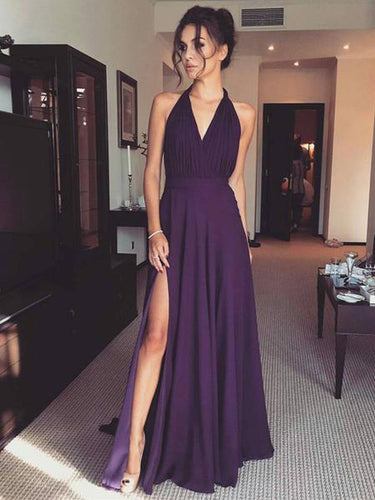 Cheap Prom Dresses A-line Halter Regency Chiffon Long Prom Dress/Evening Dress JKL325