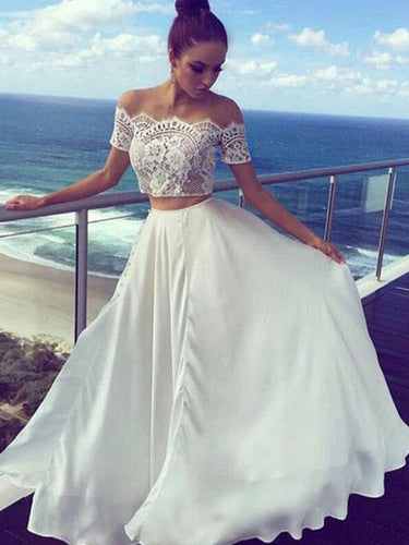 Two Piece Prom Dresses Off-the-shoulder A-line Lace Prom Dress Evening Dress JKL490