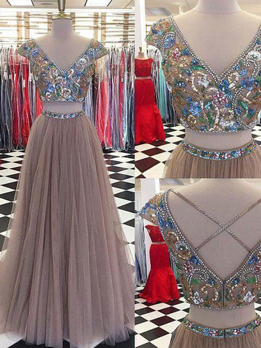 Two Piece Prom Dresses V-neck Floor-length Rhinestone Sexy Prom Dress JKL512