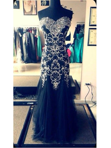 Black Prom Dresses Sheath Sweetheart Floor-length Rhinestone Long Prom Dress JKL532
