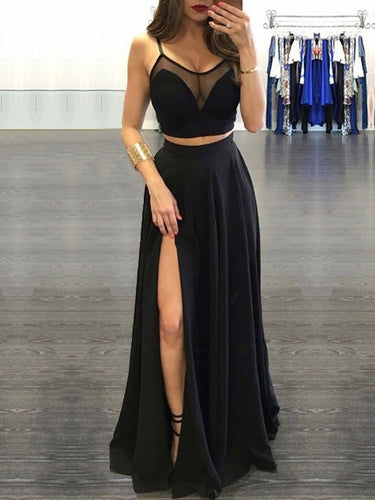 Two Piece Prom Dresses Spaghetti Straps A line Sexy Black Long Prom Dress JKL562