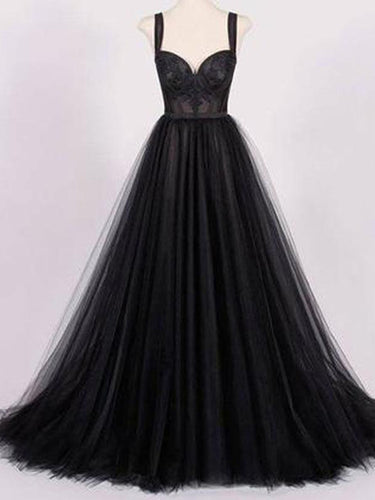 Black Prom Dresses Straps A line Sweep Train Appliques Long Sexy Prom Dress JKL563