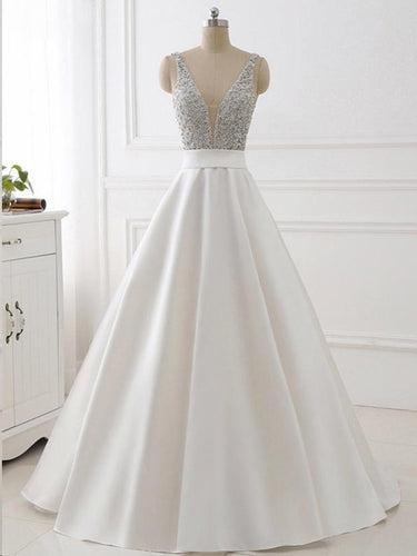 Ball Gown Prom Dresses Straps Sequins Ivory Satin Chic Sparkly Long Prom Dress JKL736