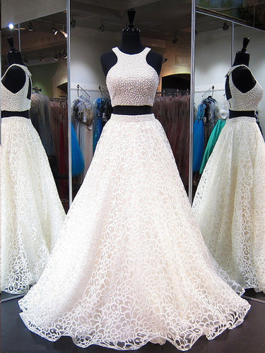 Two Piece Prom Dresses Scoop A-line Sexy Long Beading Lace Prom Dress JKL774