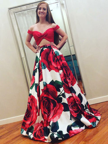 Two Piece Prom Dresses Floral Print Long Red Prom Dress Sexy Evening Dress JKL781|Annapromdress