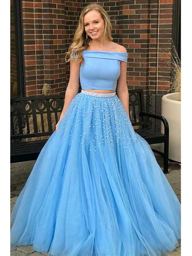 Two Piece Prom Dresses Off-the-shoulder A-line Long Chic Prom Dress JKL837|Annapromdress