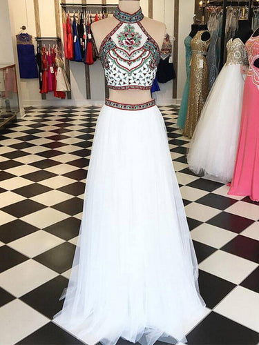 Two Piece Prom Dresses Aline High Neck Embroidery White Long Prom Dress JKL890|Annapromdress