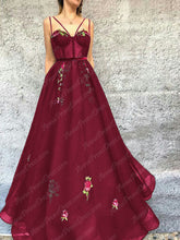 Burgundy Prom Dresses Spaghetti Straps A Line Embroidery Long Prom Dress JKL912|Annapromdress