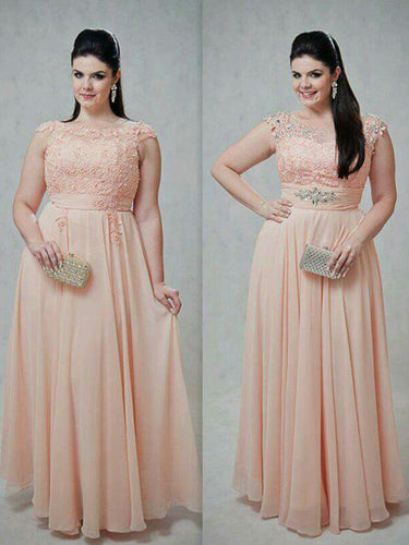 Chic Plus Size Prom Dresses Scoop Pearl Pink Long Chiffon Prom Dress JKP026