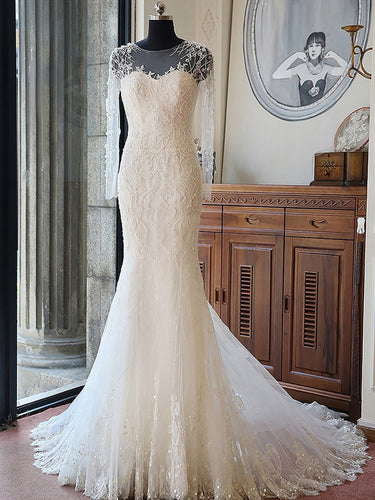 Chic Wedding Dresses Scoop Trumpet/Mermaid Delicate Sexy Tulle Bridal Gown JKS229