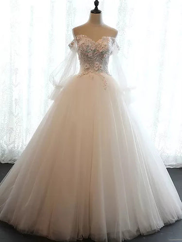 Chic Wedding Dresses Off-the-shoulder Ball Gown Lace Bridal Gown JKS242