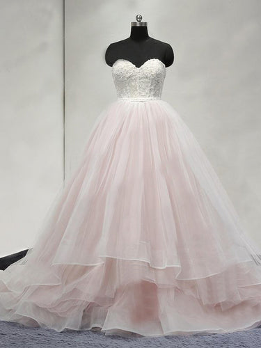 Luxury Wedding Dresses Ball Gown Sweep/Brush Train Tulle Bridal Gown JKS248