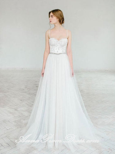 Cheap Wedding Dresses Spaghetti Straps Floor-length Lace Long Simple Bridal Gown JKS273