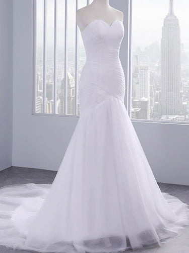 Simple Cheap Wedding Dresses White Trumpet/Mermaid Sexy Bridal Gown JKW078