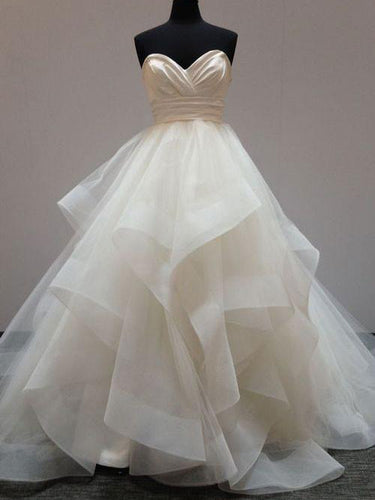 Ball Gown Wedding Dresses Sexy Sweetheart Short Train Tulle Bridal Gown JKW079