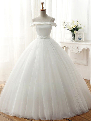 Cheap Wedding Dresses Simple Ball Gown Off-the-shoulder Tulle Bridal Gown JKW081