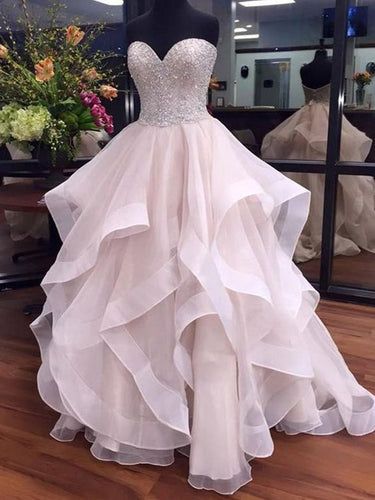 Sexy Wedding Dresses Sweetheart A-line Short Train Sequins Tulle Bridal Gown JKW085