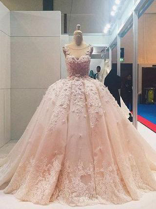Luxury Wedding Dresses Pearl Pink Ball Gown Sweep/Brush Train Bridal Gown JKW104