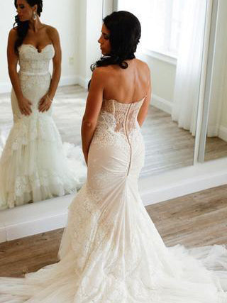 Chic Wedding Dresses Trumpet/Mermaid Sweetheart Tulle Ivory Bridal Gown JKW112
