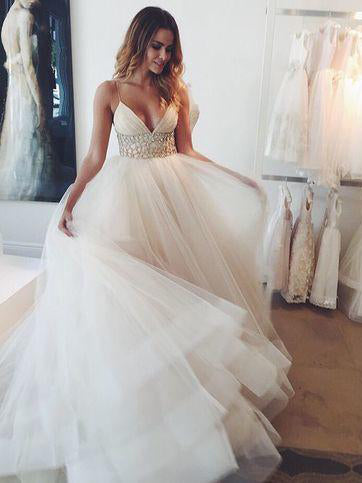 Sexy Wedding Dresses Spaghetti Straps Sweep/Brush Train Tulle Bridal Gown JKW121|Annapromdress