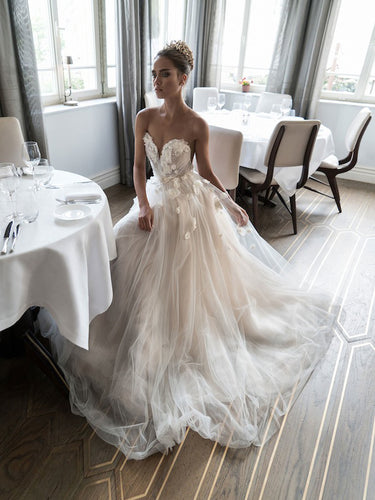 Beautiful Wedding Dresses A-line Scoop Hand-Made Flower Beading Sexy Bridal Gown JKW128|Annapromdres