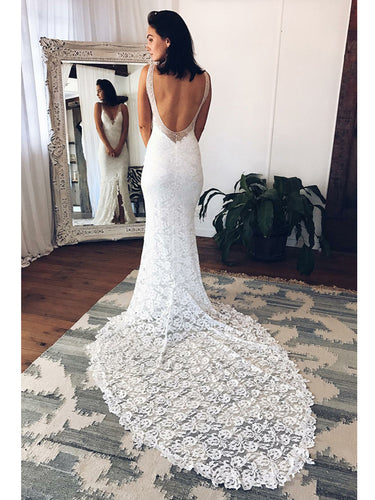 Beach Wedding Dresses V-neck Sheath Column Long Sexy White Lace Bridal Gown JKW145