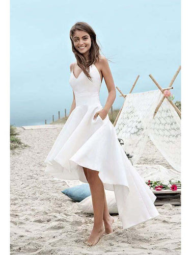 High Low Wedding Dresses Spaghetti Straps Asymmetrical Sexy Bridal Gown JKW152