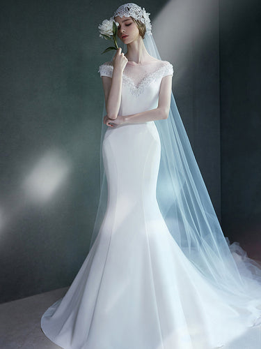 Mermaid Wedding Dresses Bateau Sweep Train White Beading Long Sexy Bridal Gown JKW161