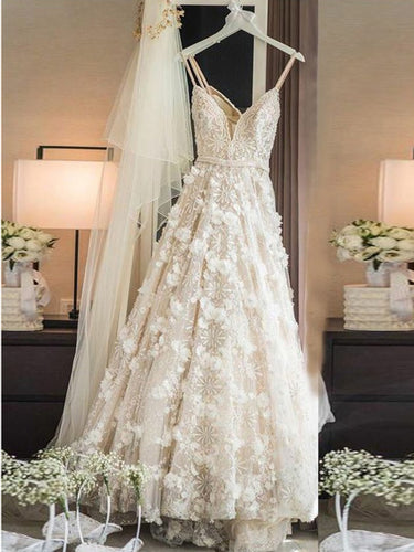 Sexy Wedding Dresses Spaghetti Straps A-line Sweep Train Ivory Lace Bridal Gown JKW175