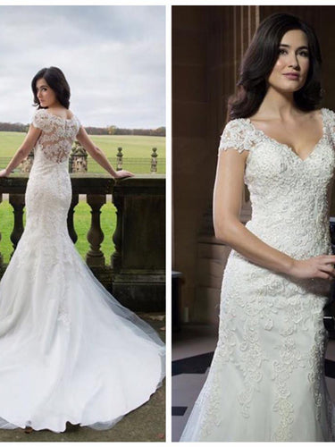 Mermaid Wedding Dresses Romantic V-neck Long Train Appliques Sexy Bridal Gown JKW226|Annapromdress